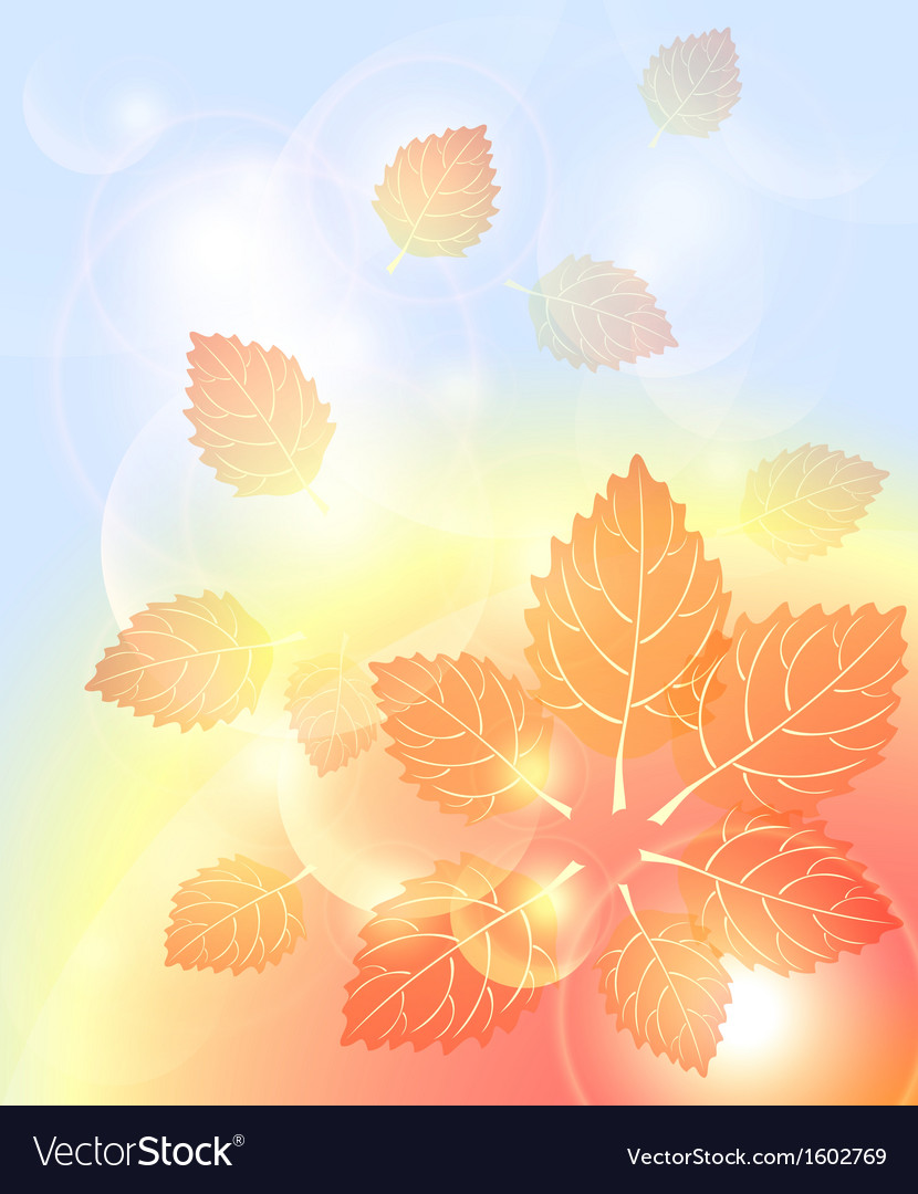 Abstract autumn background with leaves bubbles vector | Price: 1 Credit (USD $1)