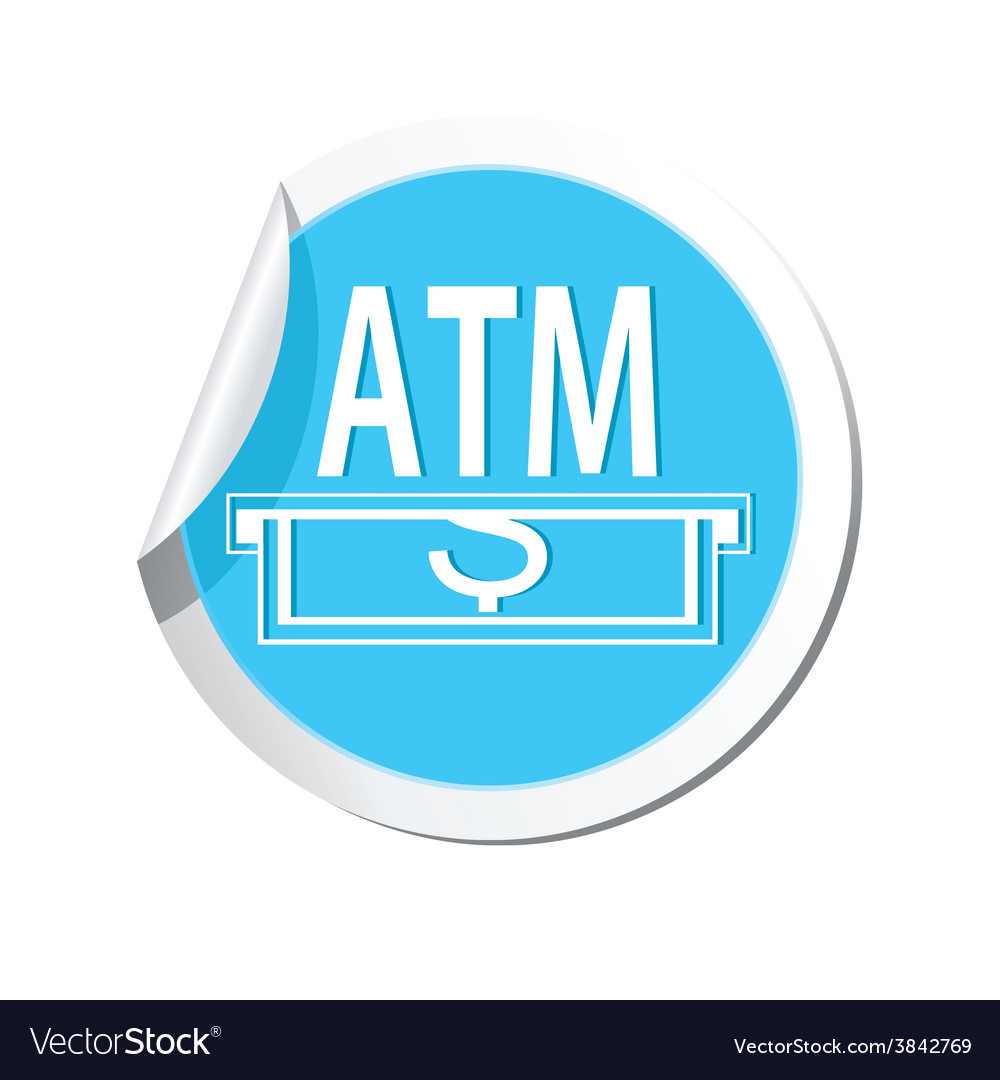 Atm blue label vector | Price: 1 Credit (USD $1)
