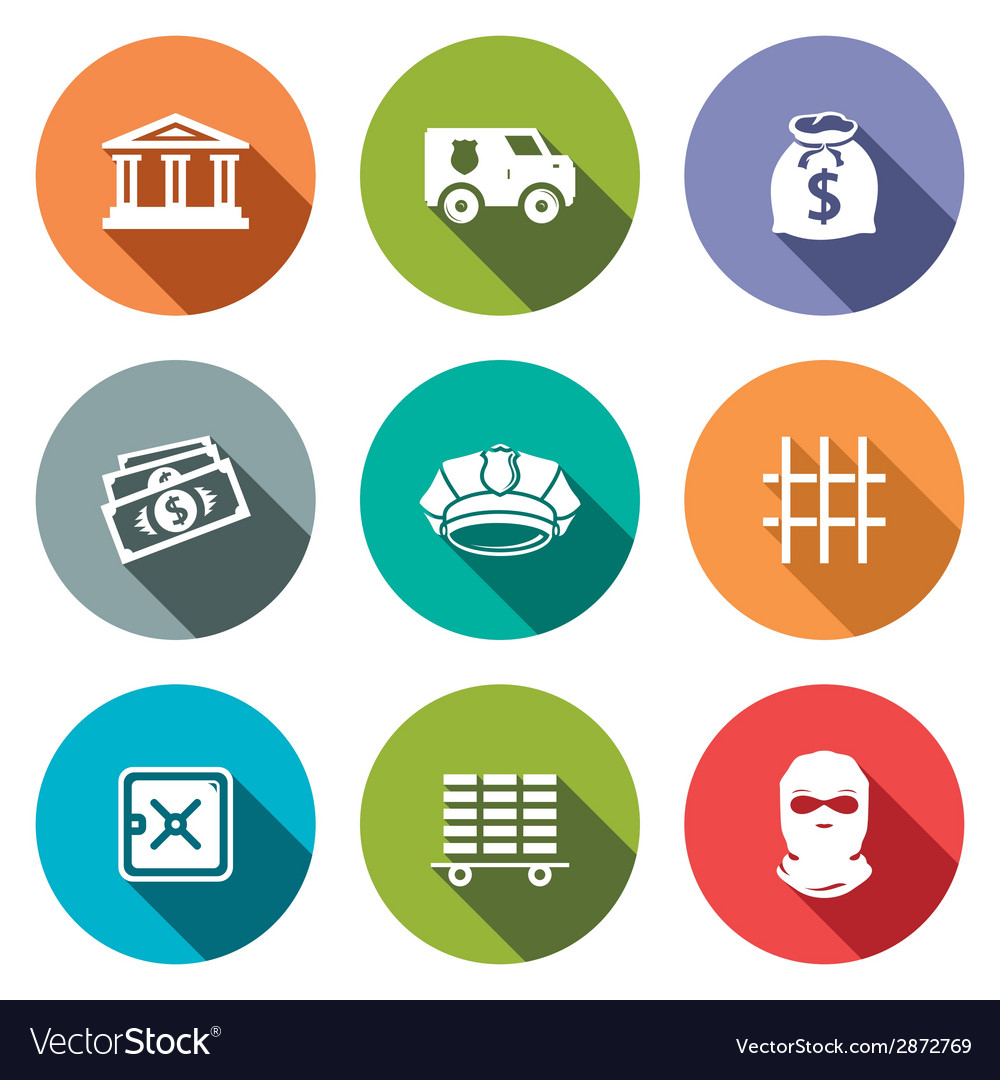 Bank flat icons set vector | Price: 1 Credit (USD $1)