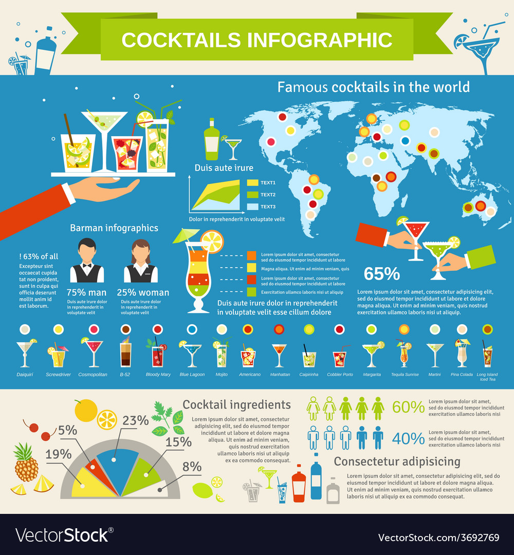Cocktails consumption infographic presentation vector   Price: 1 Credit (USD $1)