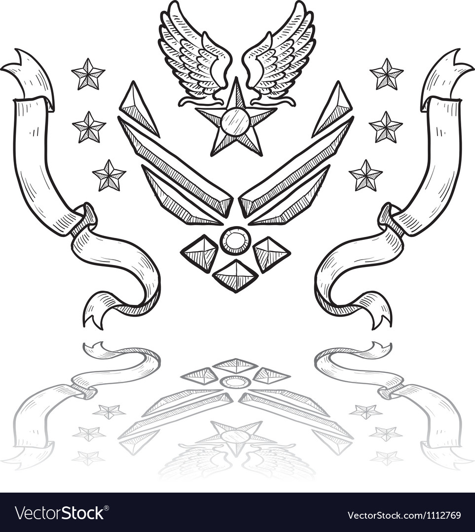 Doodle us military insignia airforce modern vector | Price: 1 Credit (USD $1)