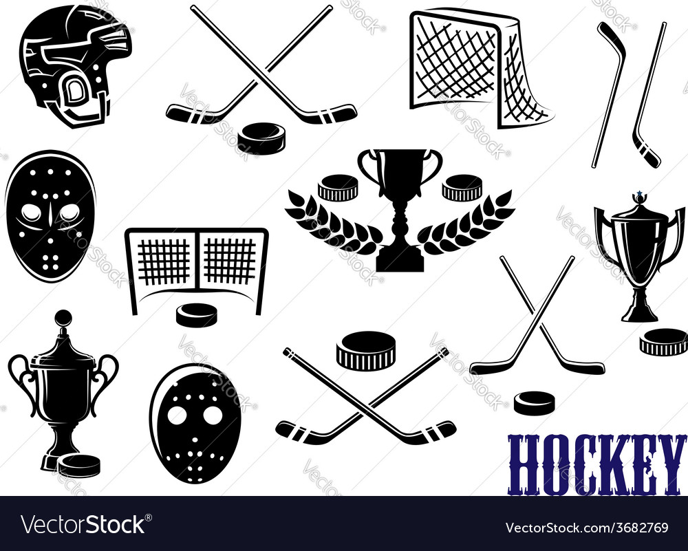 Ice hockey icons with caption hockey vector | Price: 1 Credit (USD $1)