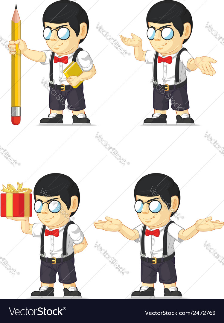 Nerd boy customizable mascot vector | Price: 1 Credit (USD $1)