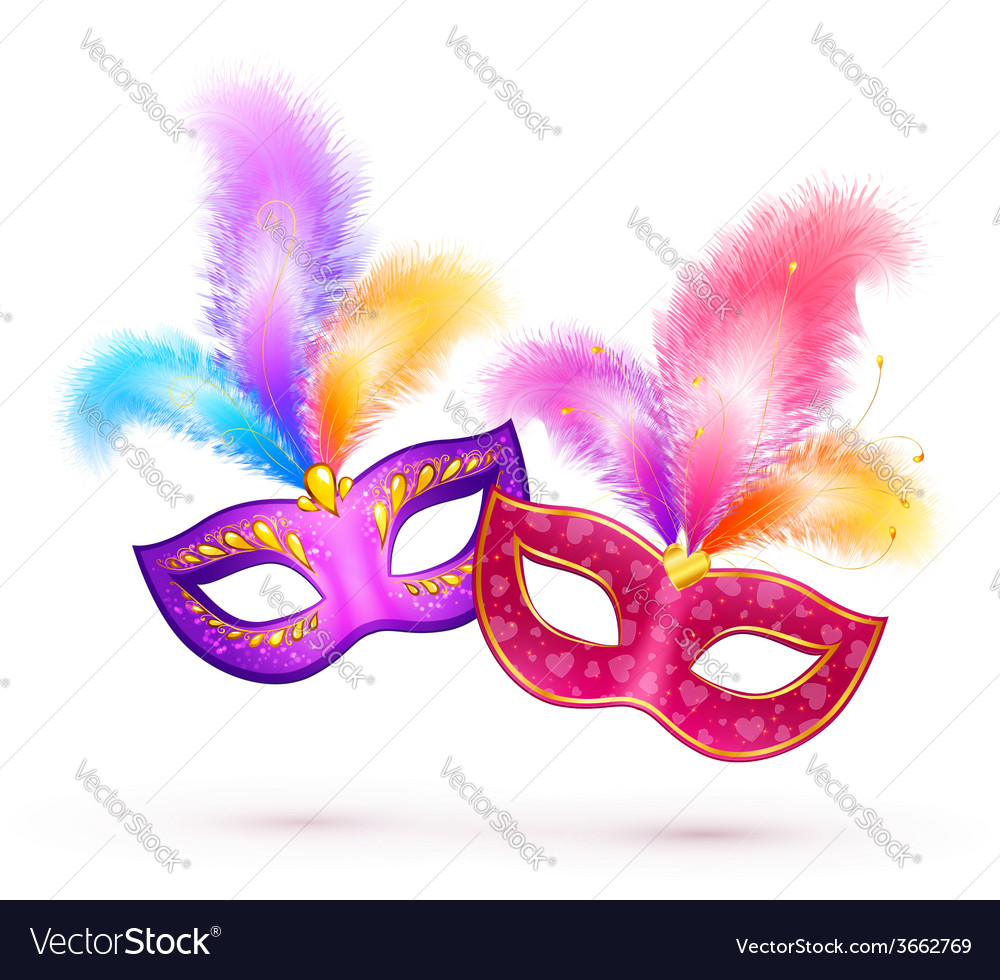 Pair of bright carnival masks with colorful vector | Price: 1 Credit (USD $1)
