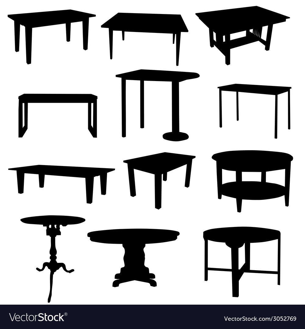 Tables for home in black color silhouette vector | Price: 1 Credit (USD $1)