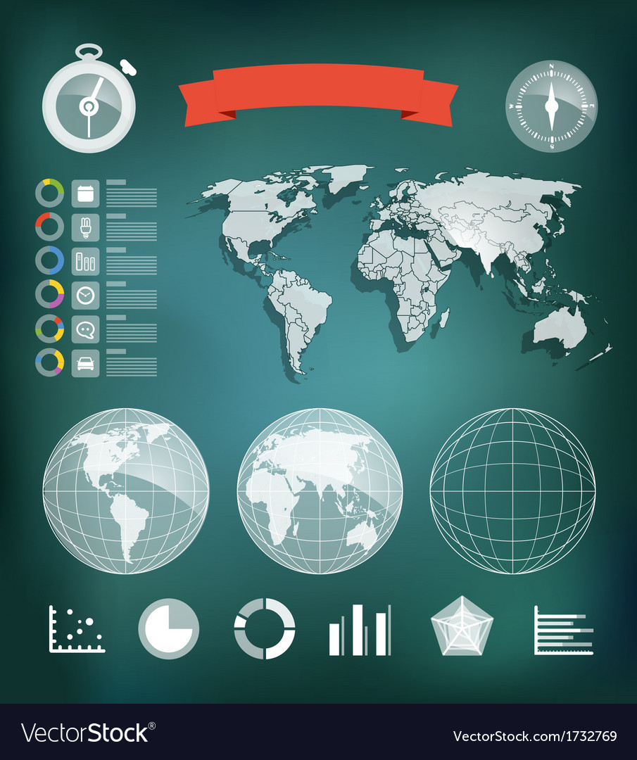 World map and different charts vector | Price: 1 Credit (USD $1)