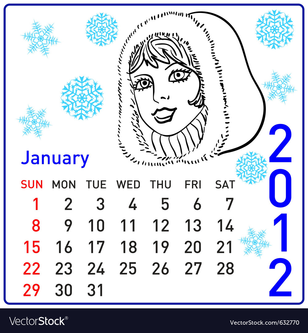 2012 year calendar in january vector | Price: 1 Credit (USD $1)
