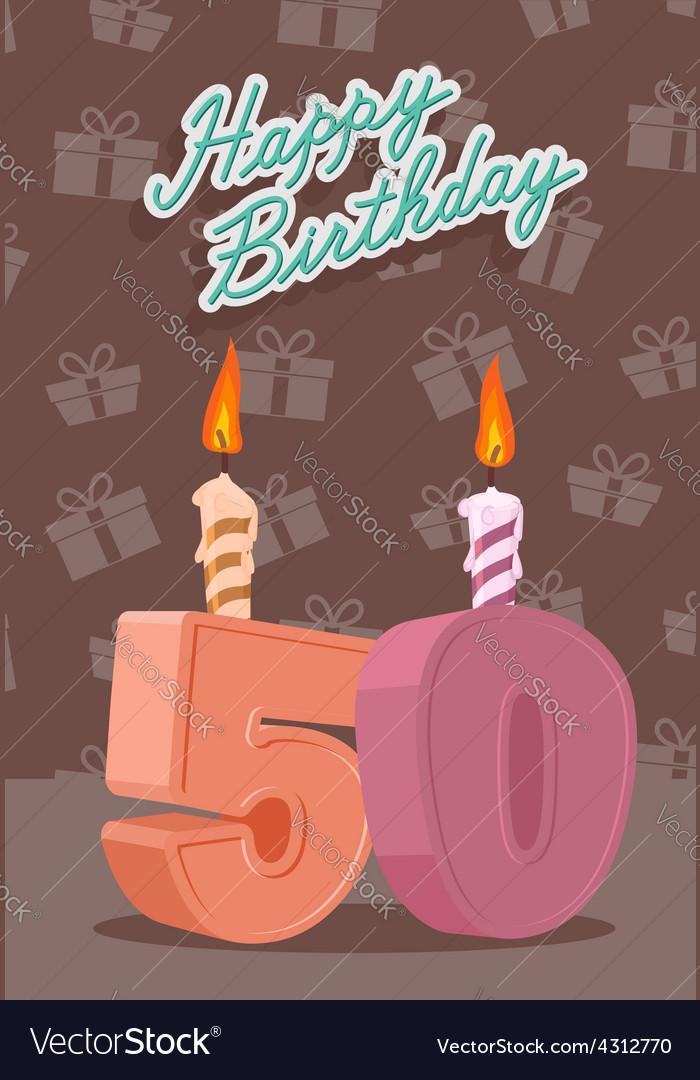 50 year happy birthday card vector | Price: 1 Credit (USD $1)