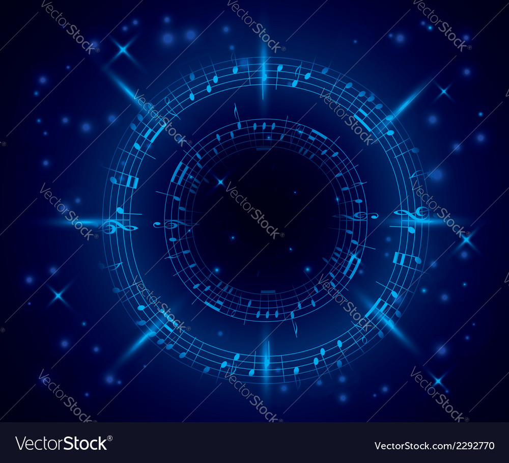 Abstract dark blue music background with notes vector | Price: 1 Credit (USD $1)