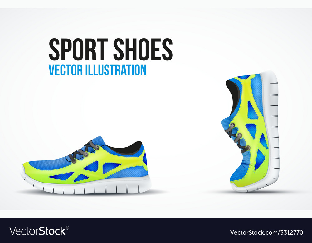 Background of two running shoes bright sport vector | Price: 1 Credit (USD $1)