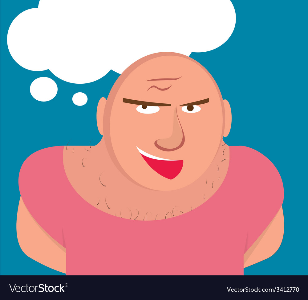 Big bald man with muscles vector | Price: 1 Credit (USD $1)