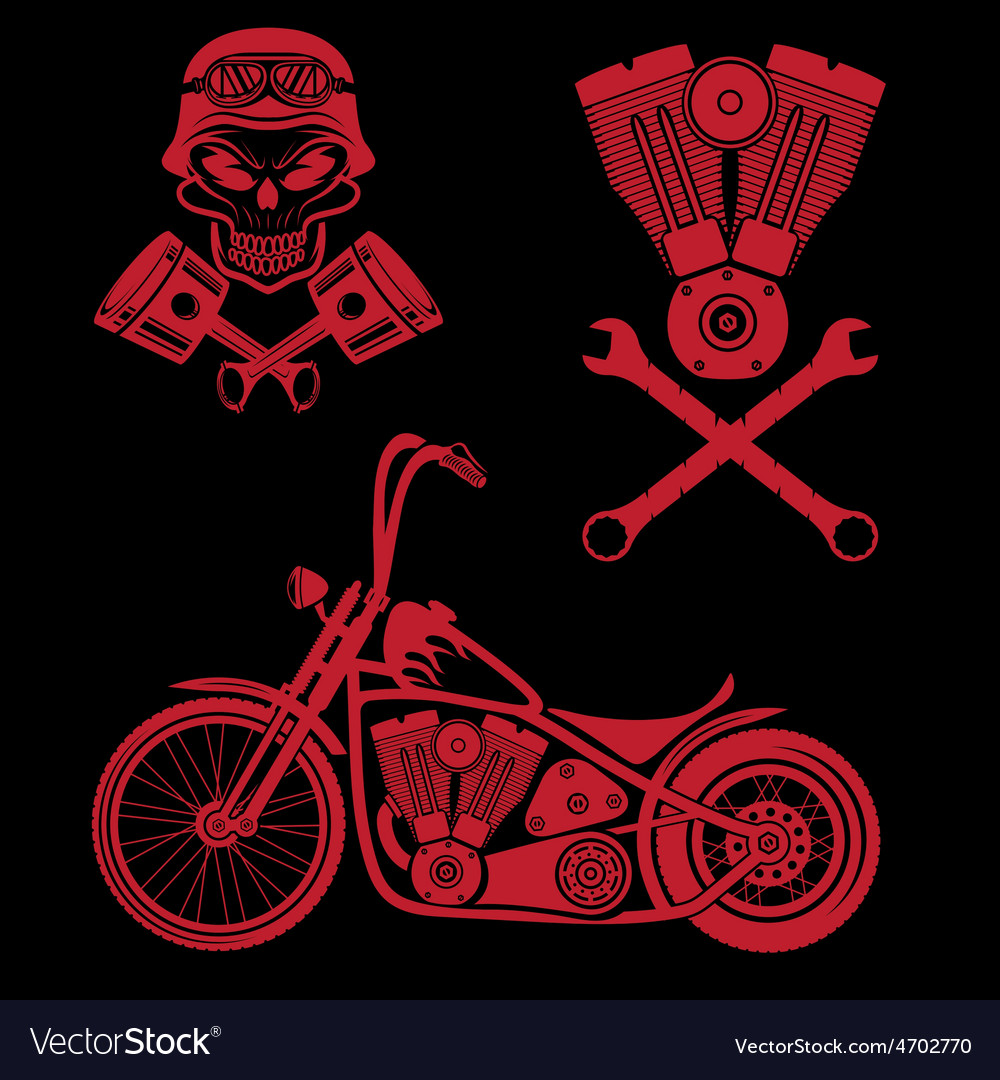 Bikers theme labels with motorbikeskullengine and vector | Price: 3 Credit (USD $3)