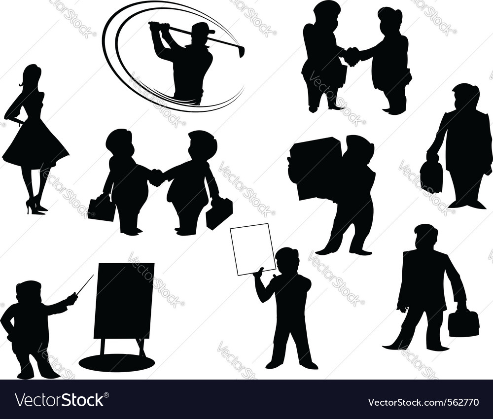 Cartoon people silhouettes vector | Price: 1 Credit (USD $1)