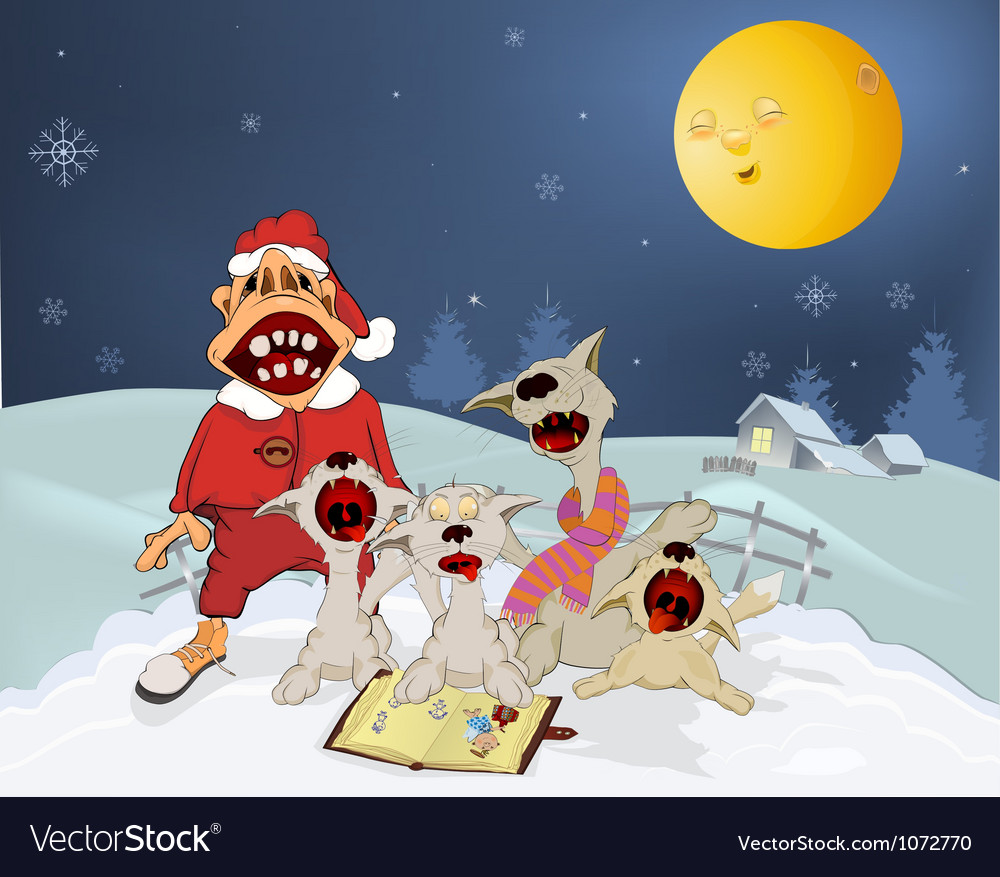 Cats and santa claus sing christmas hymns vector | Price: 3 Credit (USD $3)