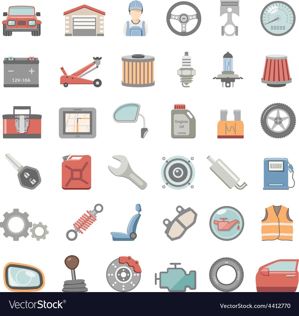 Flat icons car maintenance vector