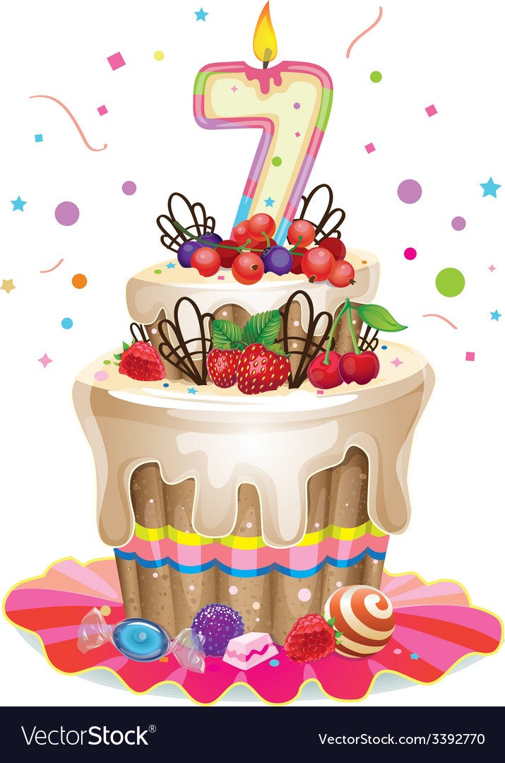 Happy birthday cake 7 vector | Price: 3 Credit (USD $3)
