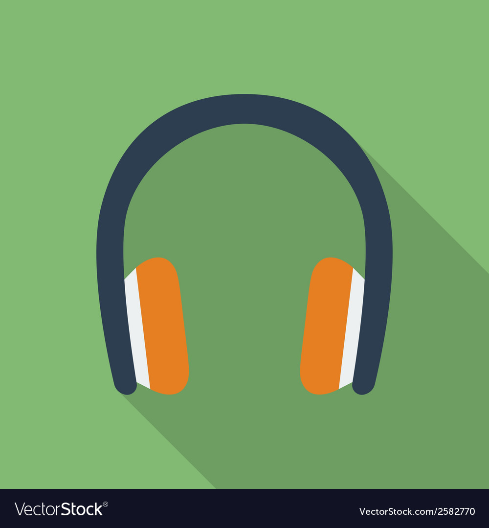 Headphones icon modern flat style with a long vector | Price: 1 Credit (USD $1)
