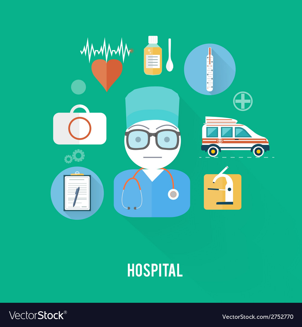 Hospital concept with item icons vector | Price: 1 Credit (USD $1)