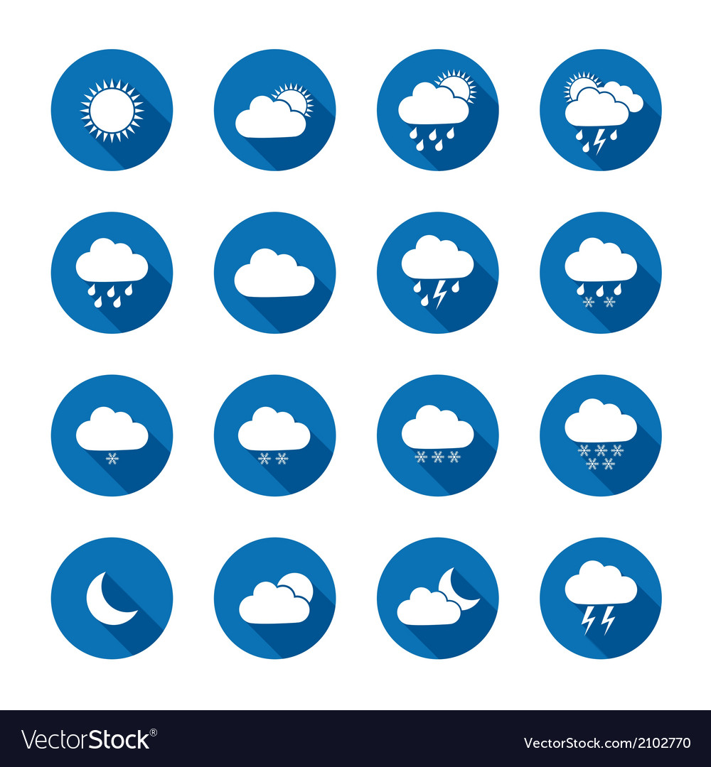 Long shadow style weather icons vector | Price: 1 Credit (USD $1)