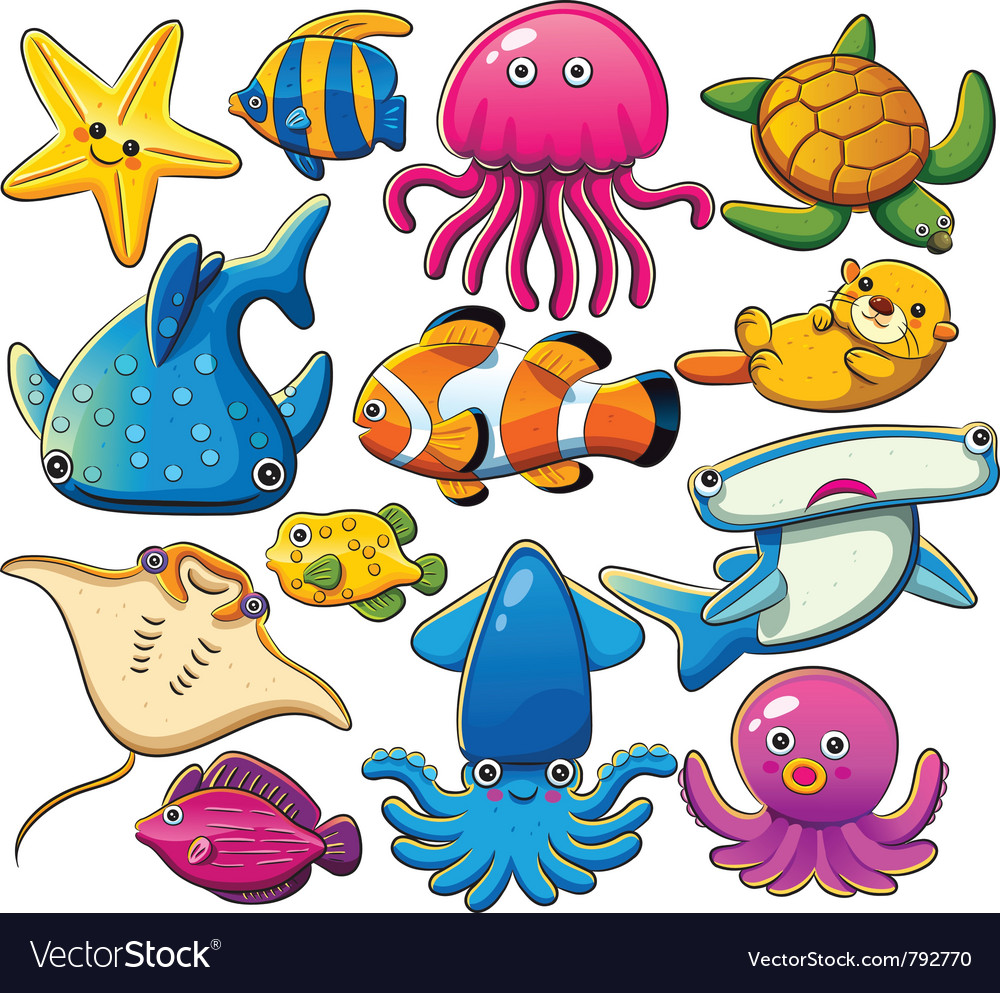 Sea animals collection vector | Price: 3 Credit (USD $3)