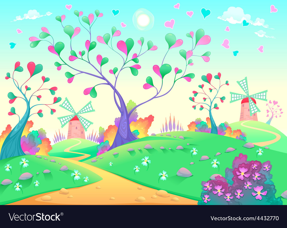 Springy landscape with windmills vector   Price: 5 Credit (USD $5)