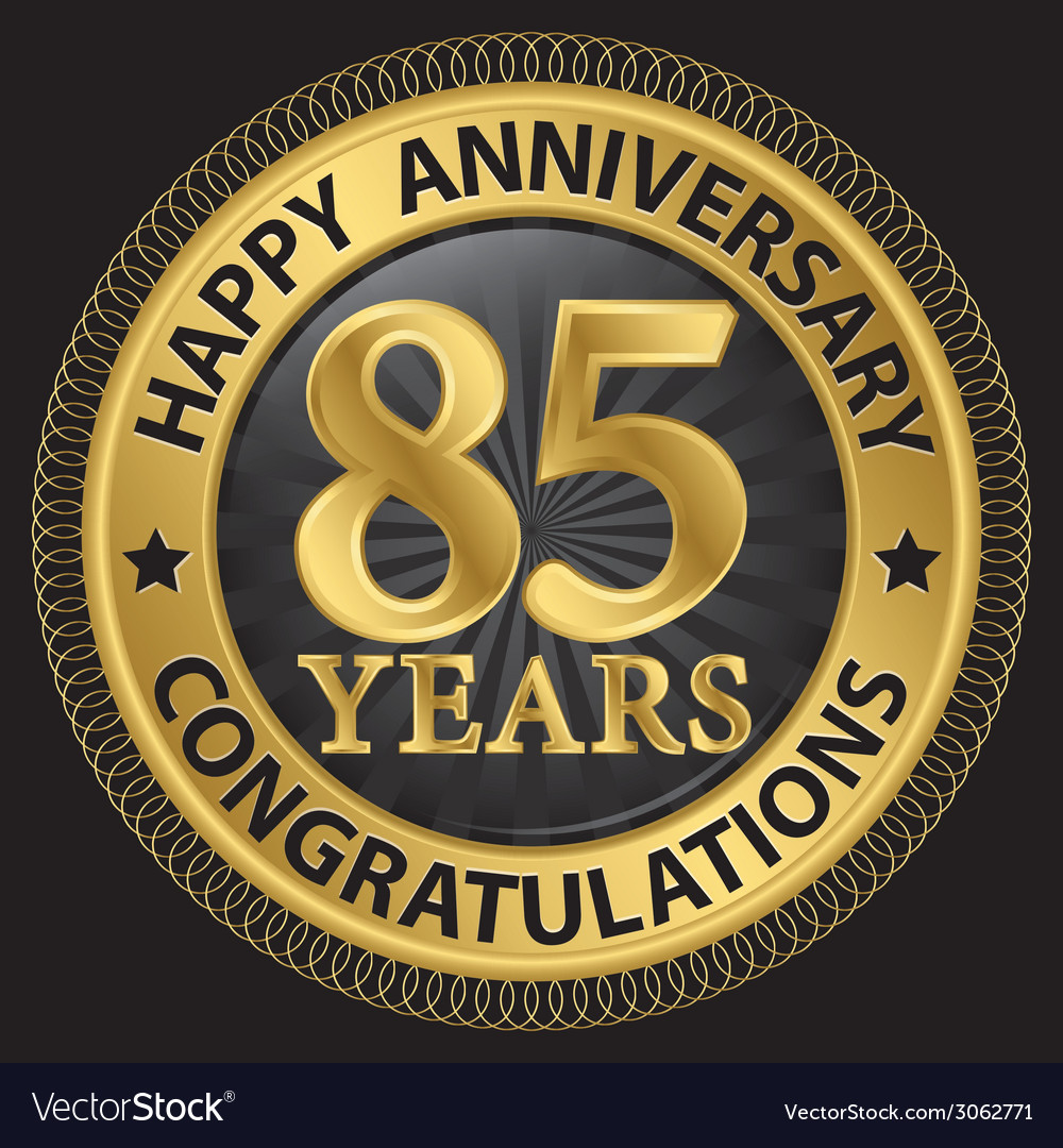 85 years happy anniversary congratulations gold vector | Price: 1 Credit (USD $1)