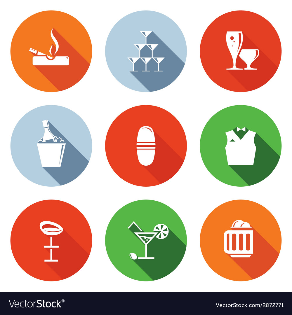 Bar flat icons set vector | Price: 1 Credit (USD $1)