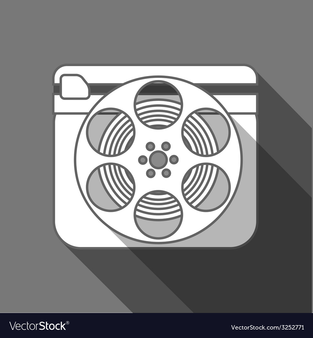 Flat long shadow cinema icon vector | Price: 1 Credit (USD $1)