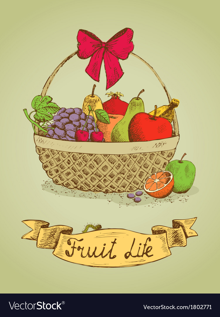 Fruit life gift basket with bow emblem vector | Price: 1 Credit (USD $1)