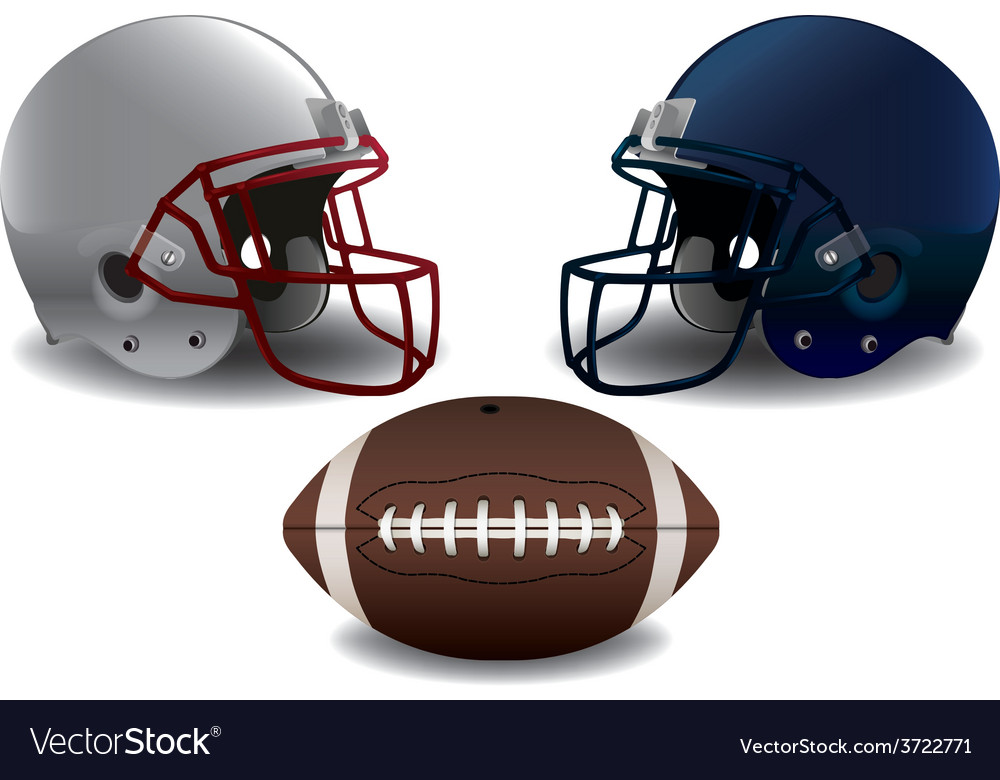 Isolated american football helmets and ball vector | Price: 3 Credit (USD $3)