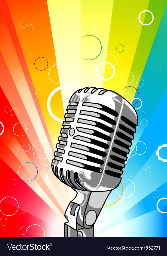 Microphone with colorful rays background vector | Price: 1 Credit (USD $1)