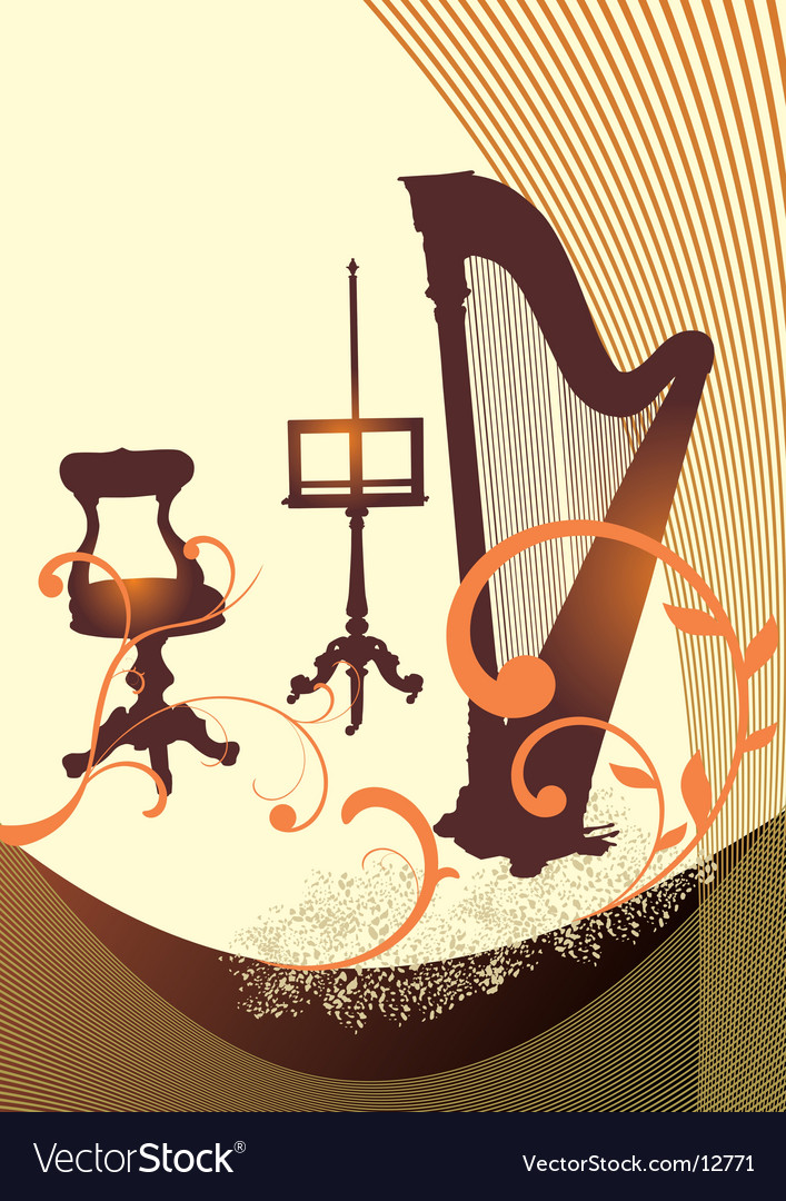 Musical harp vector | Price: 1 Credit (USD $1)