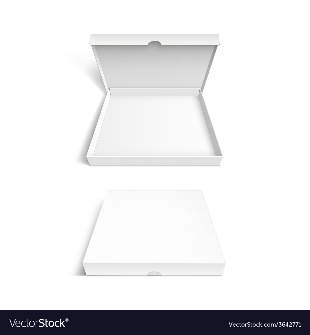 Pizza box packaging template isolated on white vector | Price: 1 Credit (USD $1)