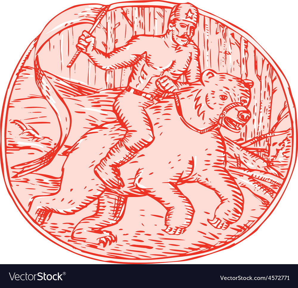 Russian soldier riding bear etching vector