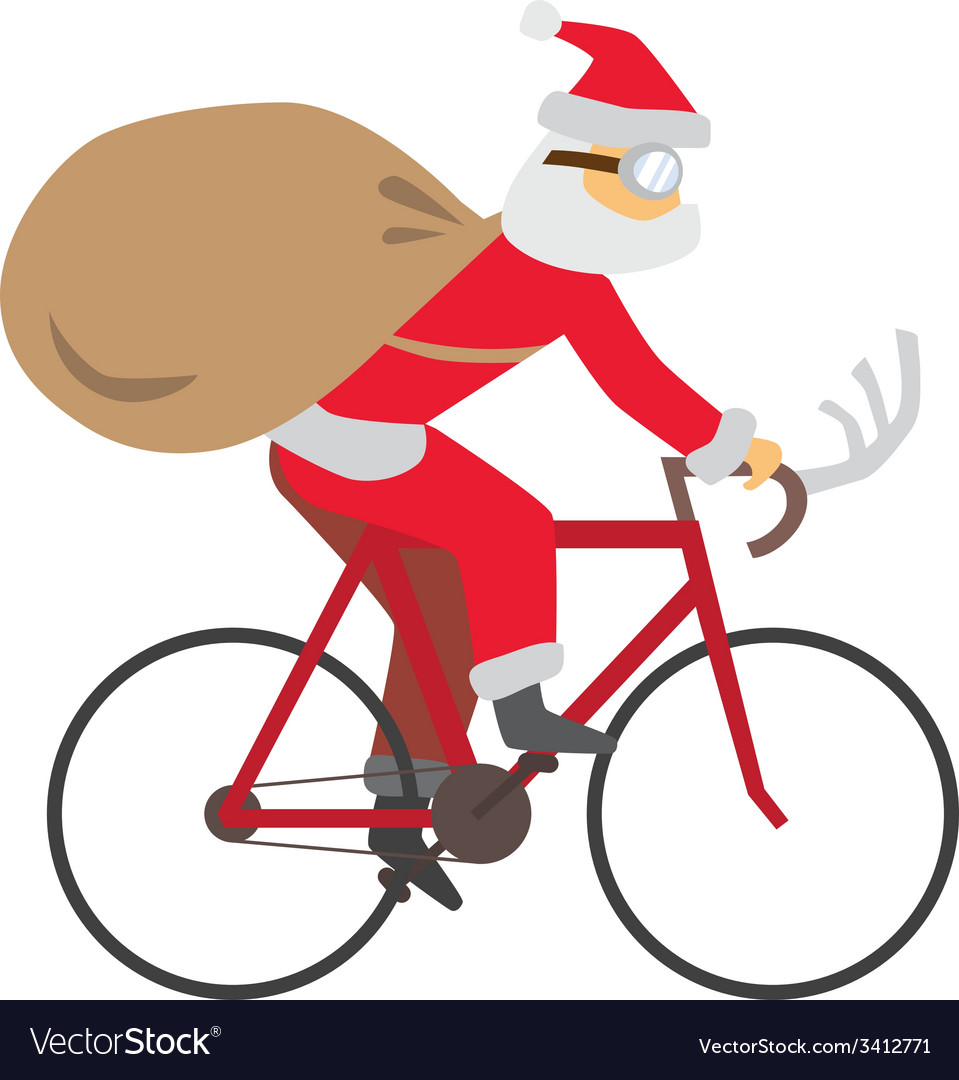 Santa ride bike vector | Price: 1 Credit (USD $1)