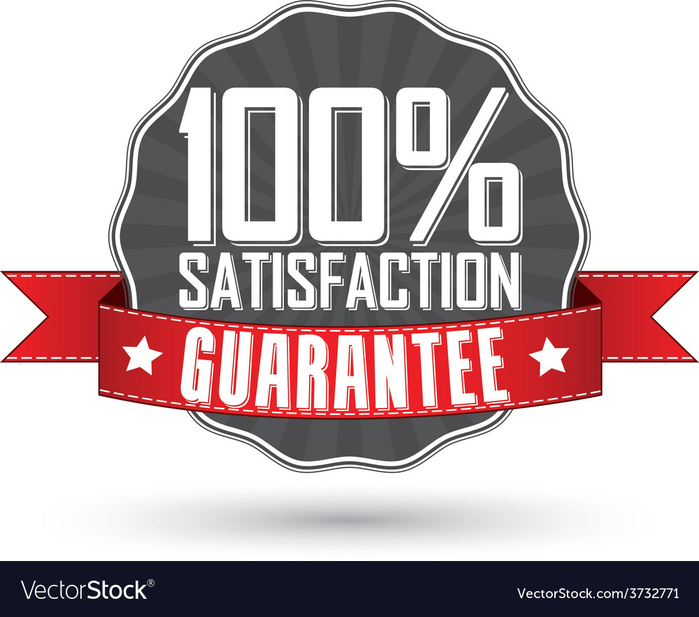 Satisfaction guarantee retro label with red ribbon vector | Price: 1 Credit (USD $1)