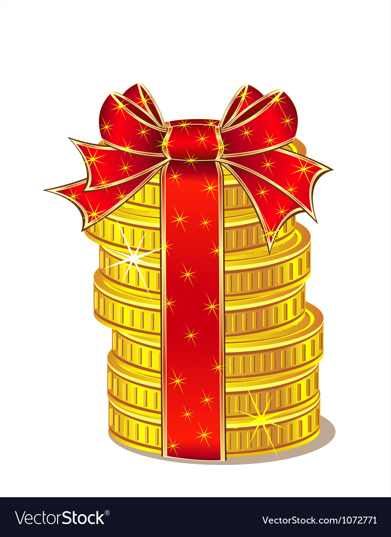 Stack of gold coins with ribbon and bow vector | Price: 1 Credit (USD $1)
