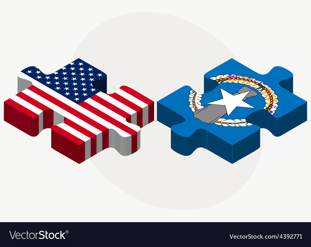 Usa and northern mariana islands flags in puzzle vector | Price: 1 Credit (USD $1)