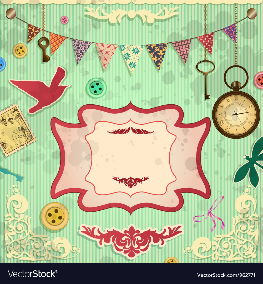 Vintage scrapbooking card vector | Price: 1 Credit (USD $1)