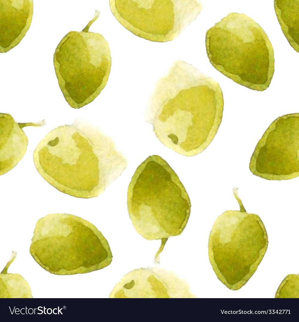 Watercolor olives pattern vector | Price: 1 Credit (USD $1)