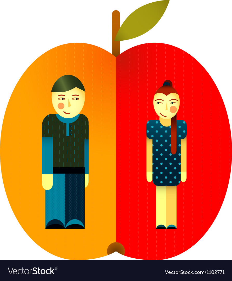 Young graphic couple and apple vector | Price: 3 Credit (USD $3)