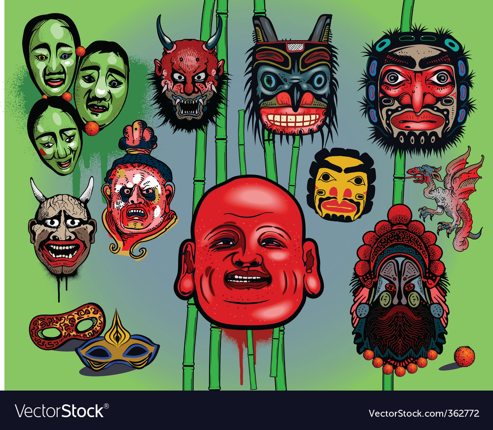Asian masks vector | Price: 5 Credit (USD $5)