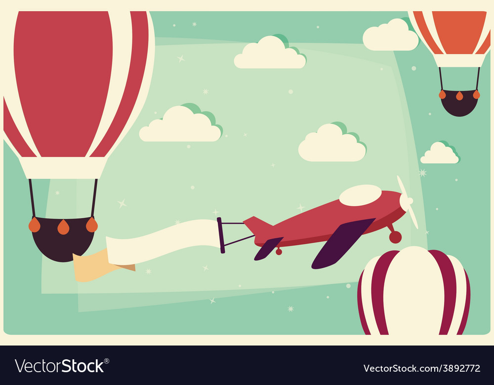 Background with hot air balloons and airplane vector | Price: 1 Credit (USD $1)