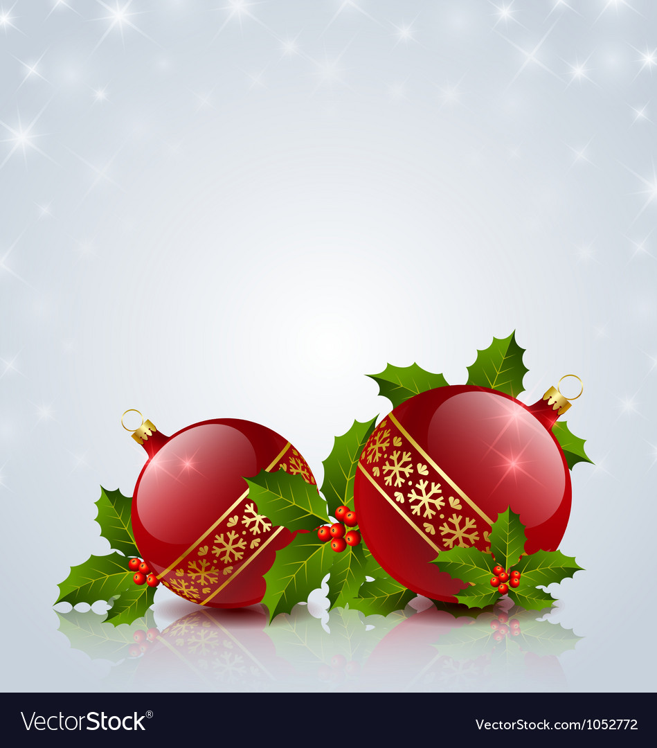 Christmas balls with holly vector | Price: 1 Credit (USD $1)