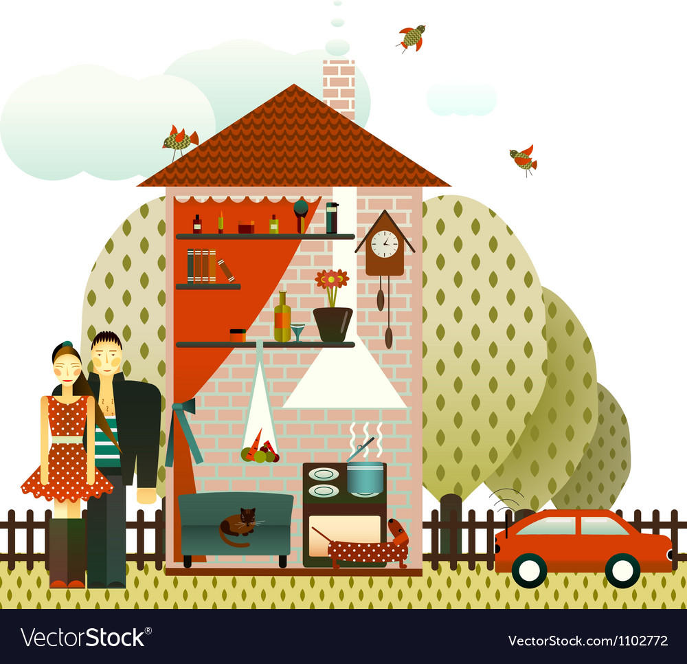 Couple in the village house vector | Price: 3 Credit (USD $3)