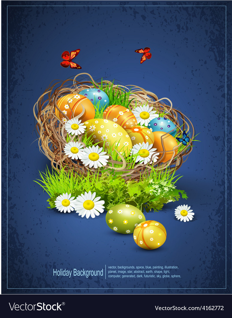 Easter background with eggs and nest vector | Price: 3 Credit (USD $3)