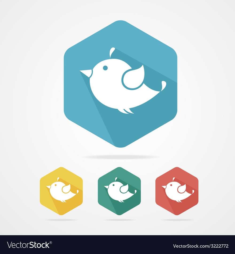 Flat icon birds with long shadow vector | Price: 1 Credit (USD $1)