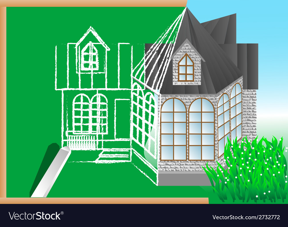 Green blackboard with architectural project vector | Price: 1 Credit (USD $1)