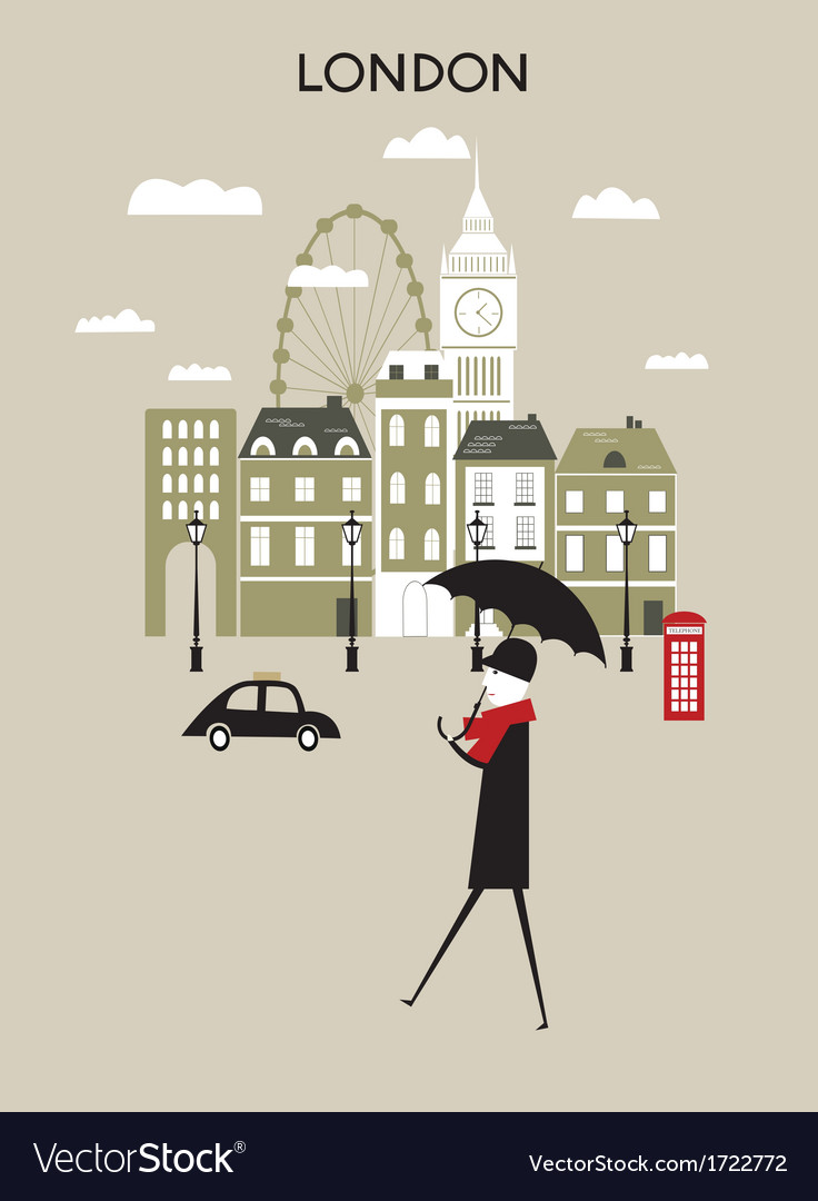 Man in london vector | Price: 1 Credit (USD $1)