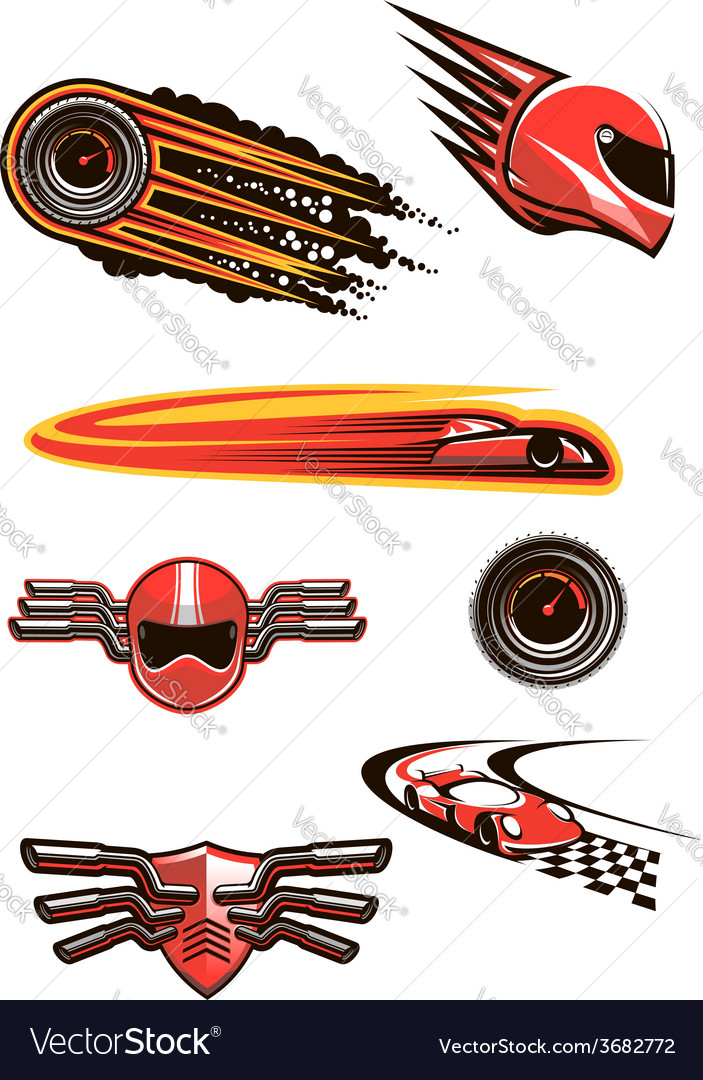 Motorcycle and car racing symbols vector | Price: 1 Credit (USD $1)